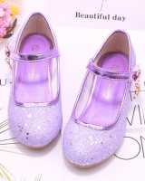 Sequins student leather shoes girl high-heeled shoes