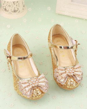 Autumn big child high-heeled gum-rubber outsole shoes
