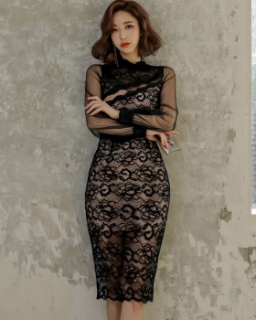 Long ladies splice temperament lace package hip dress for women