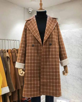 Plaid exceed knee coat retro woolen overcoat for women