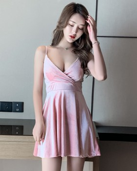 Nightclub sexy low-cut dress V-neck temperament strap dress
