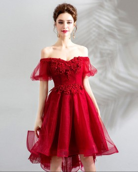 Red long and short in front evening dress bride formal dress