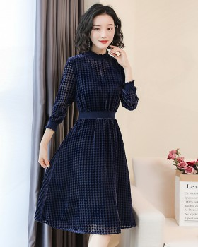 Blue retro houndstooth fashionable long dress for women