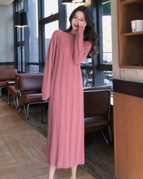 Knitted long sweet winter pure dress
