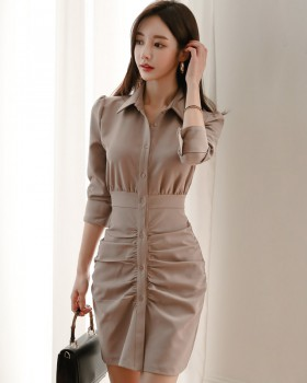 Korean style fashion shirt package hip dress for women