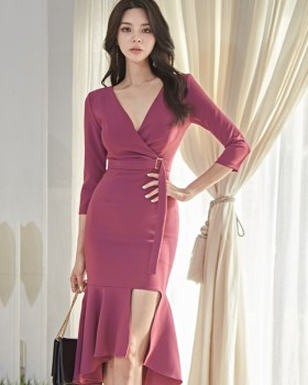 Package hip long lotus leaf edges dress for women