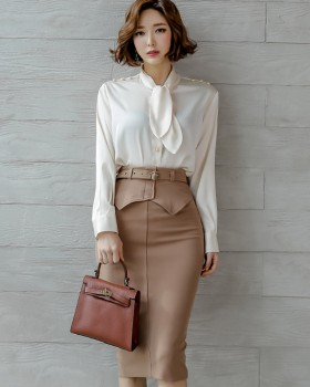Profession pinched waist shirt bow skirt 2pcs set
