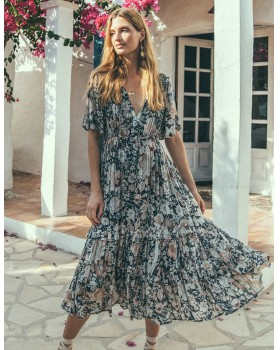 Spring and summer Bohemian style printing long dress for women