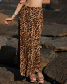 European style package hip long skirt leopard skirt for women