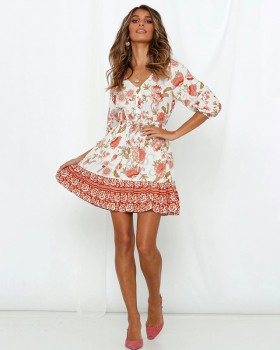 Spring and summer V-neck short sleeve dress for women