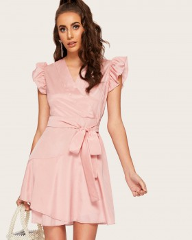Pure pink formal dress lotus sleeve dress for women