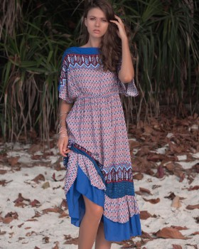 Bohemian style big skirt summer bat sleeve dress for women