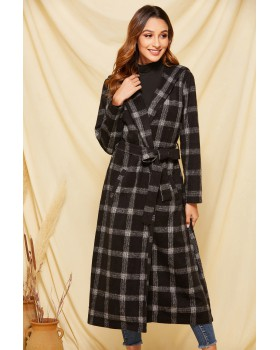 Autumn and winter plaid pattern woolen coat sueding coat