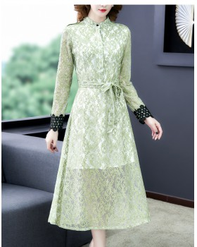 Bottoming slim dress long sleeve lace long dress for women