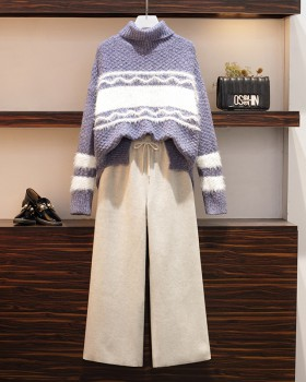 Winter sweater large yard wide leg pants 2pcs set