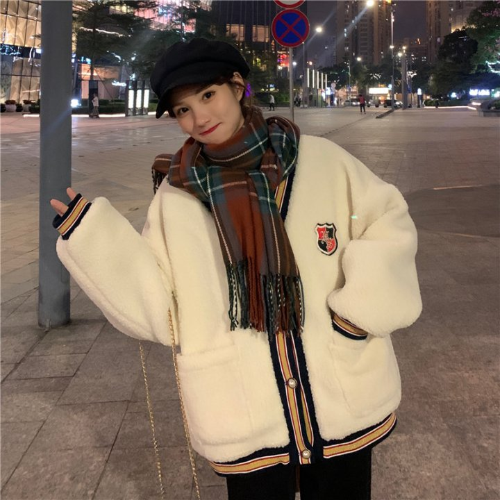All-match mixed colors cardigan lambs wool loose coat