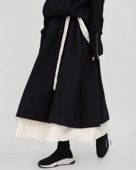 Minority irregular long burr double winter skirt