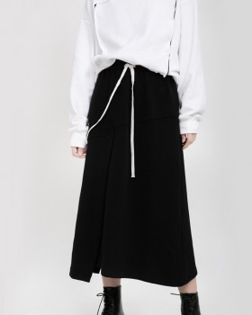 Split Korean style frenum elastic Casual long skirt
