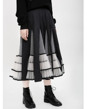 Winter long autumn and winter all-match pleated skirt