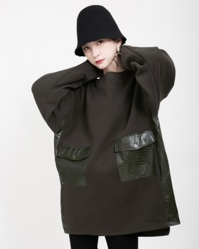 Loose all-match hoodie long dress for women