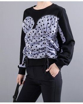 Polka dot autumn and winter tops drawstring hoodie