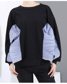 Loose stripe hoodie thick Korean style tops for women