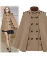 Double-breasted fashion coat woolen shawl for women