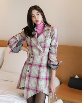 Houndstooth Korean style irregular woolen coat