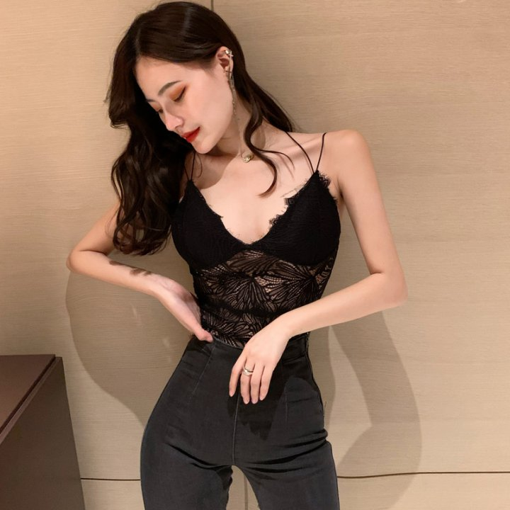 Sexy small strap lace tops winter sling vest for women