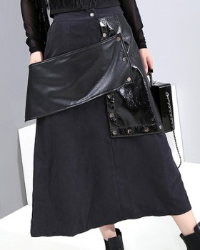 European style skirt fashion leather skirt for women