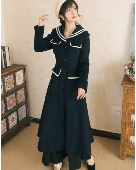 Long sleeve France style woolen coat pure winter coat