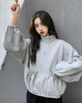 Korean style long sleeve thick pocket hoodie for women