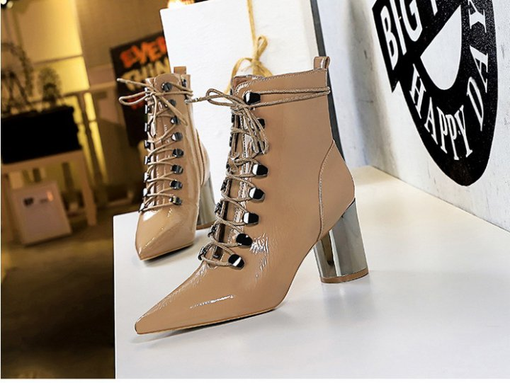 All-match metal glossy high-heeled pointed short boots