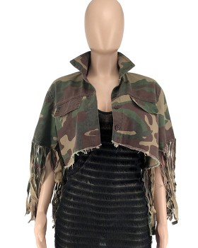 Camouflage tassels personality fashion coat for women