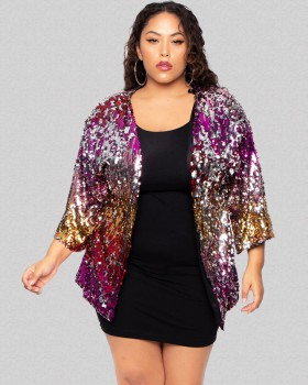 Fashion European style sequins large yard lined coat