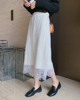 Wear lace knitted elastic waist jacquard skirt