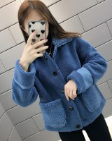 Complex overcoat short fur coat for women