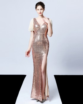 Long sexy sequins host banquet slim noble evening dress