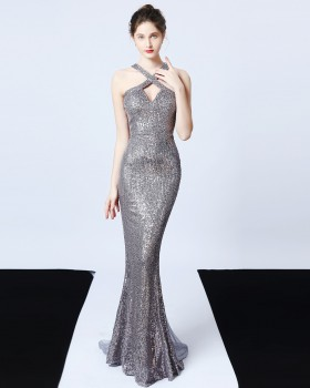 Ladies sequins slim elegant party evening dress