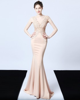 Beading long slim evening dress wedding mermaid dress