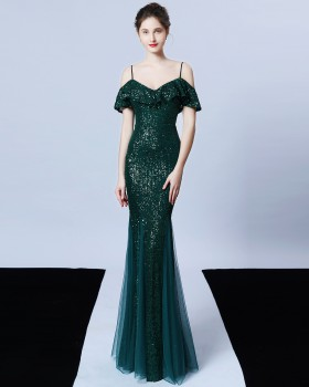 Temperament tassels autumn sequins evening dress