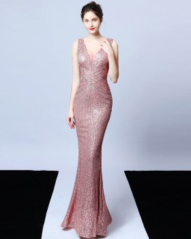 Banquet queen long sleeve autumn evening dress