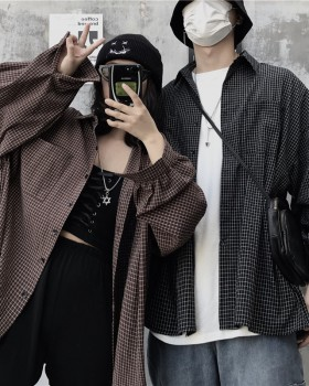 Japanese style style long sleeve winter couples shirt