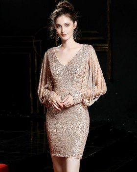 Party short evening dress sequins dress for women