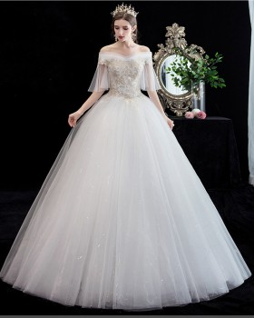 Flat shoulder pure France style bride wedding dress