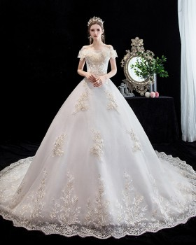Flat shoulder beautiful dream bride big trailing wedding dress