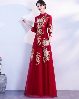 Chinese style bride cheongsam red evening dress