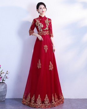 Bride Chinese style dress long sleeve evening dress