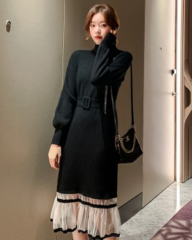 Autumn and winter splice gauze dress long knitted sweater dress