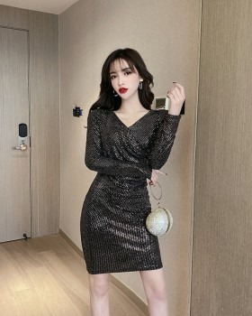 Sexy sequins autumn slim package hip bottoming dress